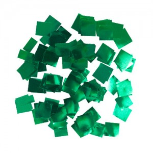 Конфетти 5х5 мм квадратики Зелёный металлик 100 г