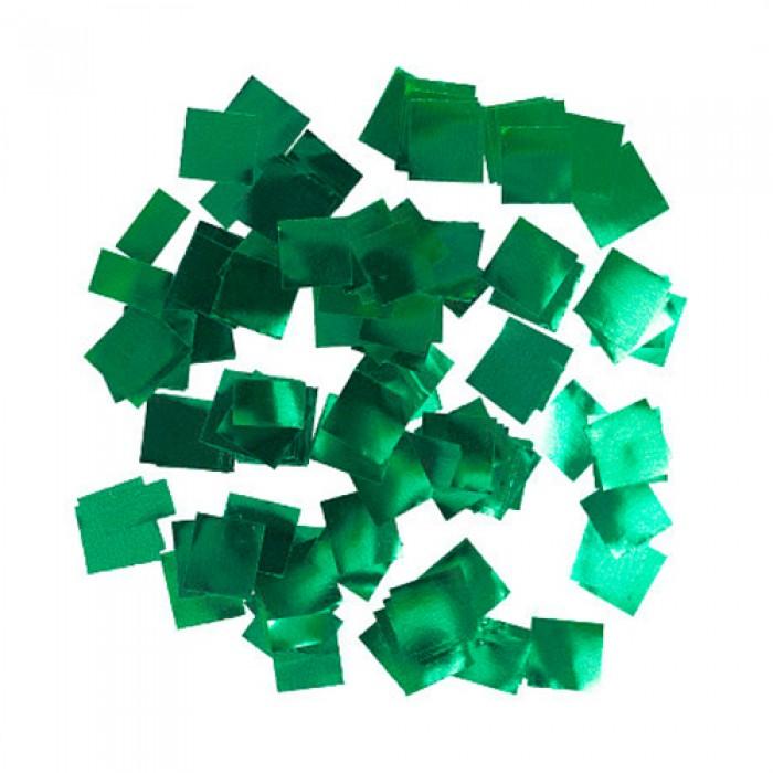 Конфетти 5х5 мм квадратики Зелёный металлик 500 г
