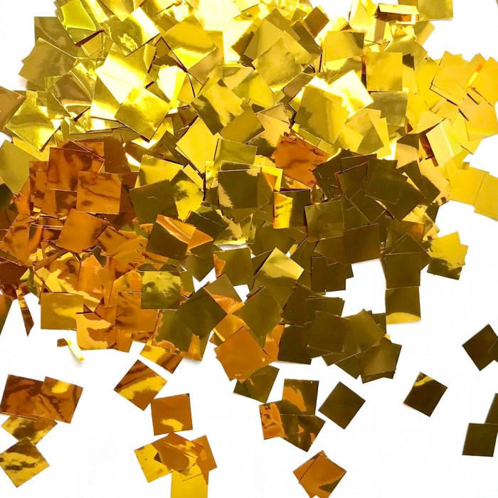 Конфетти 8х8 мм квадратики Золото 500 г