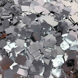Конфетти 12х16 мм квадратики Серебро 1000 г