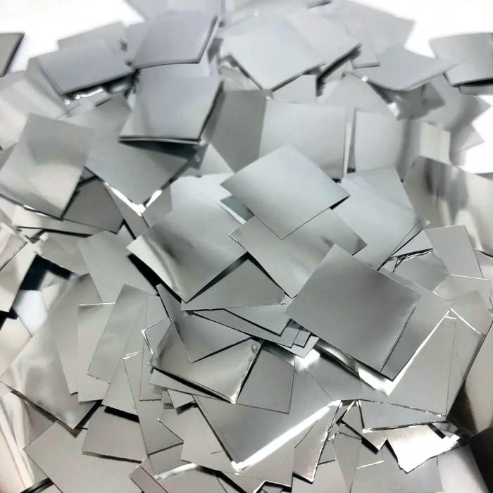 Конфетти 8х8 мм квадратики Серебро 100 г