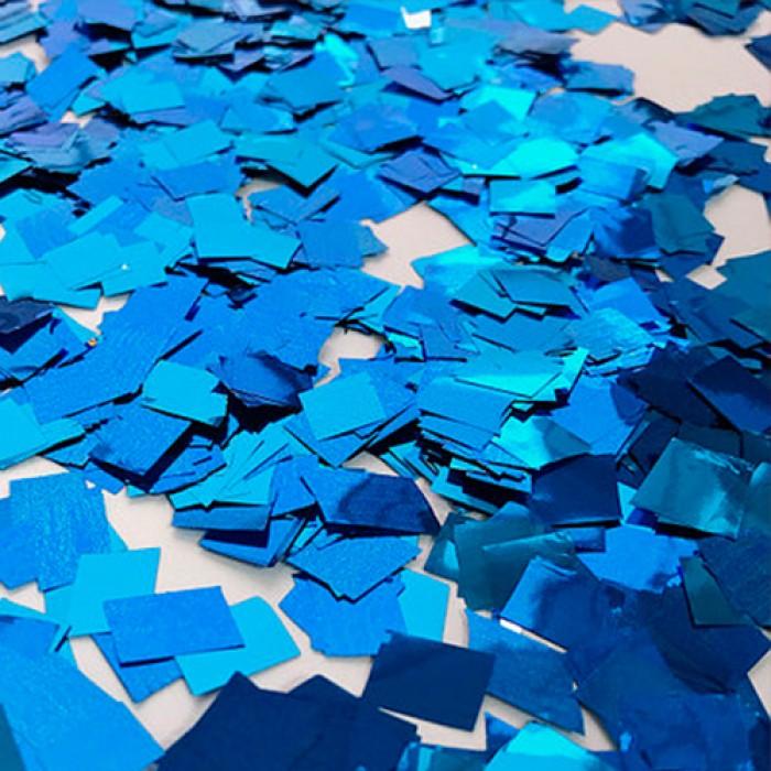 Конфетти 8х8 мм квадратики Синий металлик 100 г