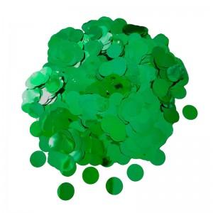 Конфетти 12 мм кружочки Зелёный металлик 500 г
