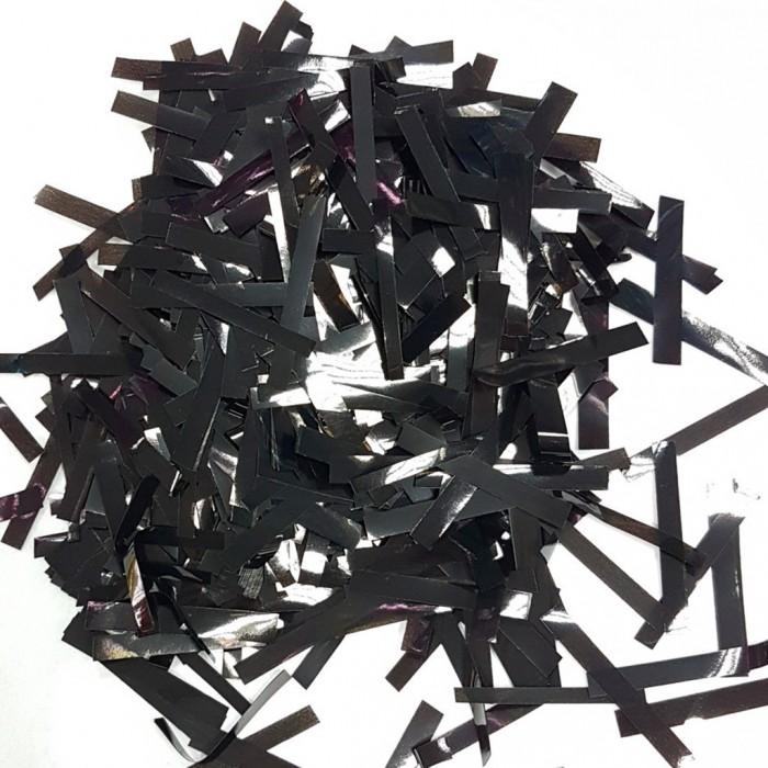 Конфетти 5х40 мм тонкие полоски Чёрный 500 г