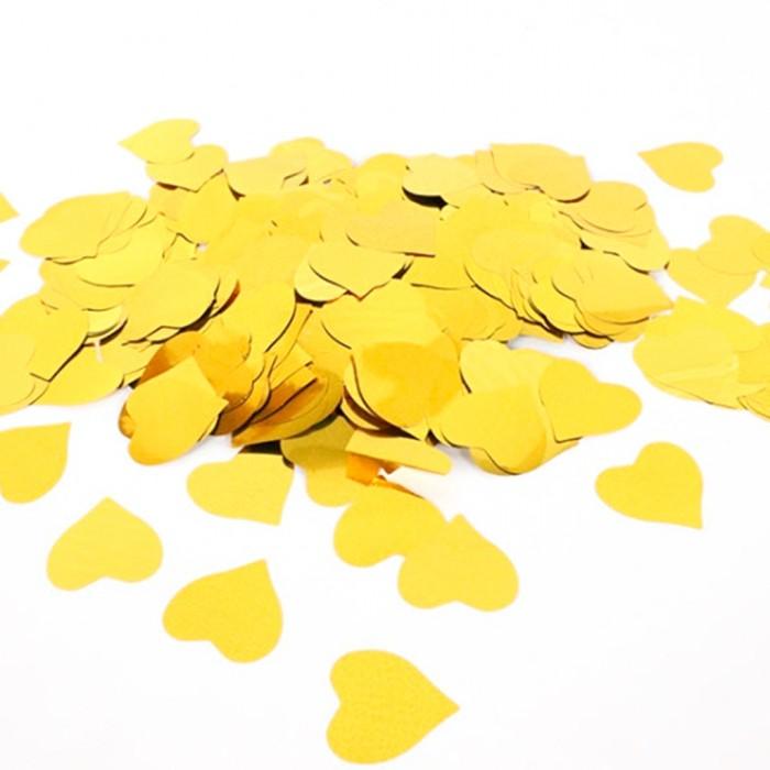 Конфетти 25х25 мм сердечки Золото 100 г