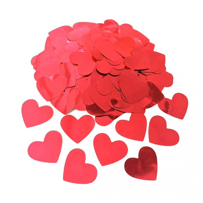 Конфетти 25х25 мм сердечки Красный металлик 50 г