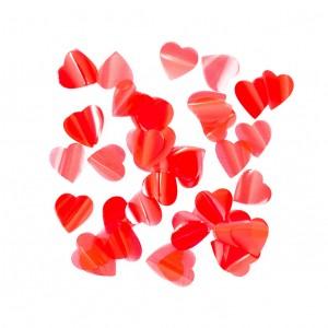 Конфетти 25х25 мм сердечки Красный 50 г