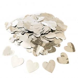 Конфетти 25х25 мм сердечки Серебро 50 г