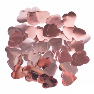 Конфетти 25х25 мм сердечки Rose Gold 50 г