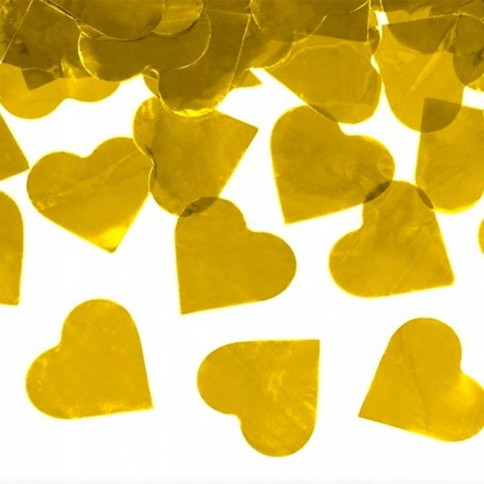 Конфетти 35х35 мм сердечки Золото 500 г