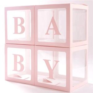 Набор из 4х прозрачных коробок с розовыми гранями + наклейка BABY
