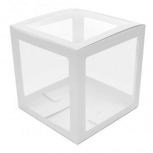Прозрачная коробка для шаров белые грани 30х30х30 (1шт.)