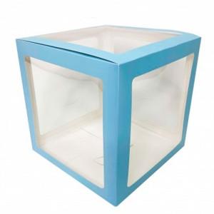 Прозрачная коробка для шаров голубые грани 30х30х30 (1шт.)