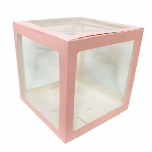 Прозрачная коробка для шаров розовые грани 30х30х30 (1шт.)