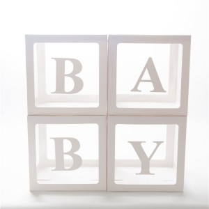 Набор из 4х прозрачных коробок с белыми гранями + наклейка BABY
