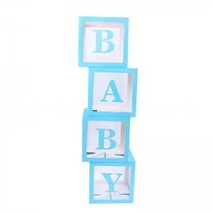 Набор из 4х прозрачных коробок с голубыми гранями + наклейка BABY