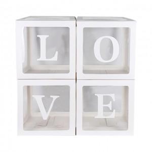 Набор из 4х прозрачных коробок с белыми гранями + наклейка LOVE