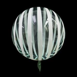Шар Bubbles Кристалл 18″ (45 см.) Бирюзовый с белыми полосами (Китай)