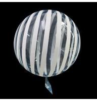 Шар Bubbles Кристалл 18″ (45 см.) Голубой с белыми полосами (Китай)