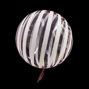 Шар Bubbles Кристалл 18″ (45 см.) Красный с белыми полосами (Китай)