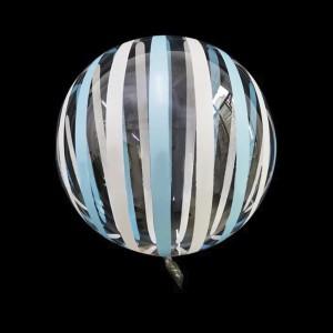 Шар Bubbles Кристалл 18″ (45 см.) Прозрачный с голубыми и белыми полосами (Китай)