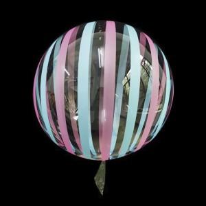 Шар Bubbles Кристалл 18″ (45 см.) Прозрачный с голубыми и розовыми полосами (Китай)