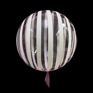 Шар Bubbles Кристалл 18″ (45 см.) Розовый с белыми полосами (Китай)
