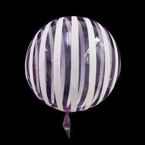 Шар Bubbles Кристалл 18″ (45 см.) Сиреневый с белыми полосами (Китай)