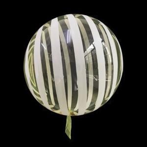 Шар Bubbles Кристалл 18″ (45 см.) Жёлтый с белыми полосами (Китай)