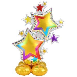 Стоячий шар фигура Разноцветные звёзды AirLoonz под воздух (Anagram)