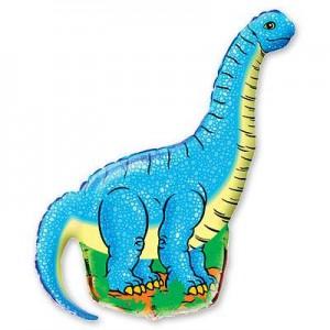 Фольгированный шар фигура Динозавр Голубой (Flexmetal)