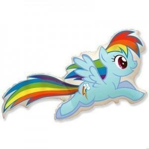 Фольгированный шар фигура  My Little Pony Радуга Голубой (Flexmetal)
