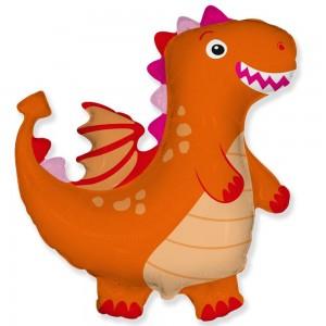 Фольгированный шар фигура Дракон Оранжевый (Flexmetal)