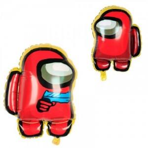 Фольгированный шар фигура Among Us Амонг Ас с пистолетом Красный (Китай)