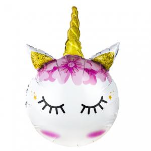 Фольгированный шар фигура Единорог с закрытыми глазами и золотым рогом (Китай)