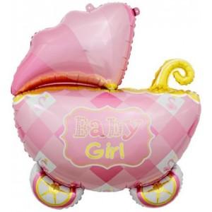 Фольгированный шар большая фигура Коляска Розовая Baby Girl (Китай)