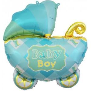 Фольгированный шар большая фигура Коляска Голубая Baby Boy (Китай)