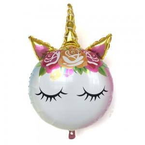 Фольгированный шар фигура Единорог с золотым рогом (Китай)