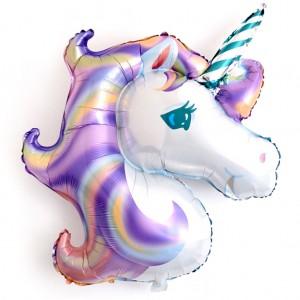 Фольгированный шар фигура Голова Единорога Фиолетовая голограмма (Китай)