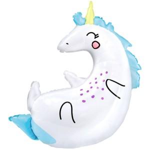 Фольгированный шар фигура Единорог на спинке (PartyDeco)