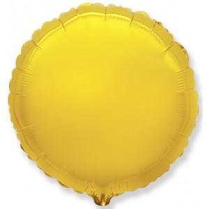 Фольгированный шар 9' (22см) Мини-Круг Золото (Flexmetal)