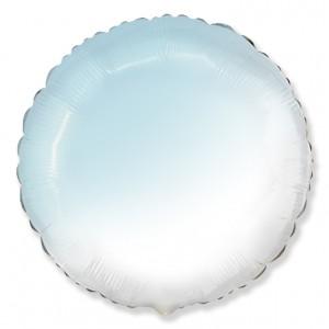 Фольгированный шар 18' (45см) Круг Омбре Бело-Голубой (baby blue) (Flexmetal)