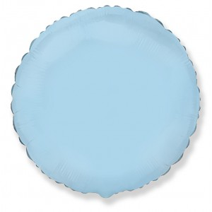 Фольгированный шар 18' (45см) Круг Пастель Голубой (Flexmetal)