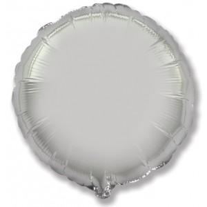 Фольгированный шар 18' (45см) Круг Серебро (Flexmetal)