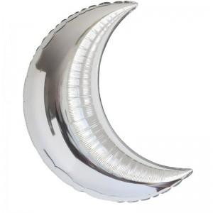Фольгированный шар 36' (90 см) Полумесяц Серебро (Flexmetal)