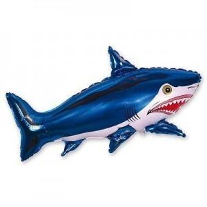 Фольгированный шар мини фигура Акула Синяя (Flexmetal)