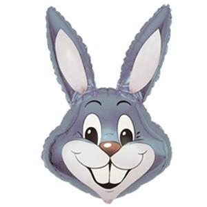 Фольгированный шар мини фигура Голова кролика серая (Flexmetal)