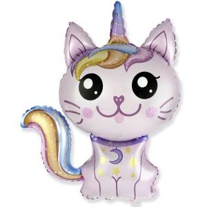 Фольгированный шар мини фигура Кошка-единорог Розовая (Flexmetal)