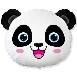 Фольгированный шар мини фигура Голова панды (Flexmetal)