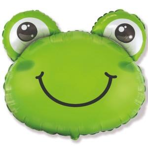 Фольгированный шар мини фигура Голова лягушонка (Flexmetal)